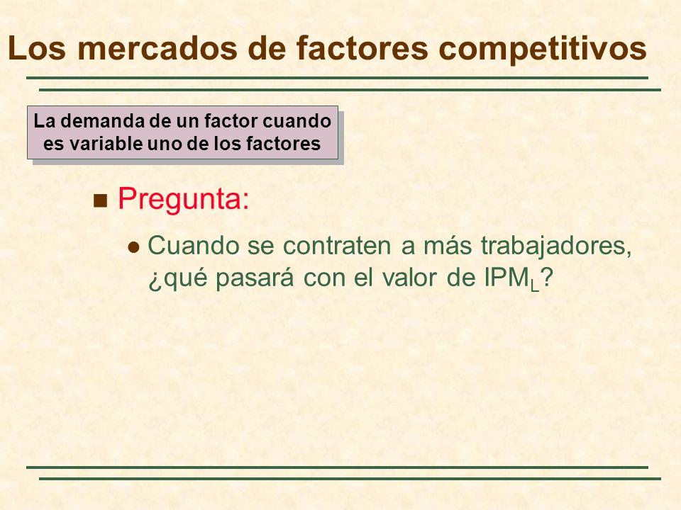 El ingreso del producto marginal Horas de trabajo Salario (dólares por hora) IPM L = PM L x P Mercado de productos competitivos (P = IM ) IPM L = PM L x IM Mercado de productos monopolístico (IM <P)
