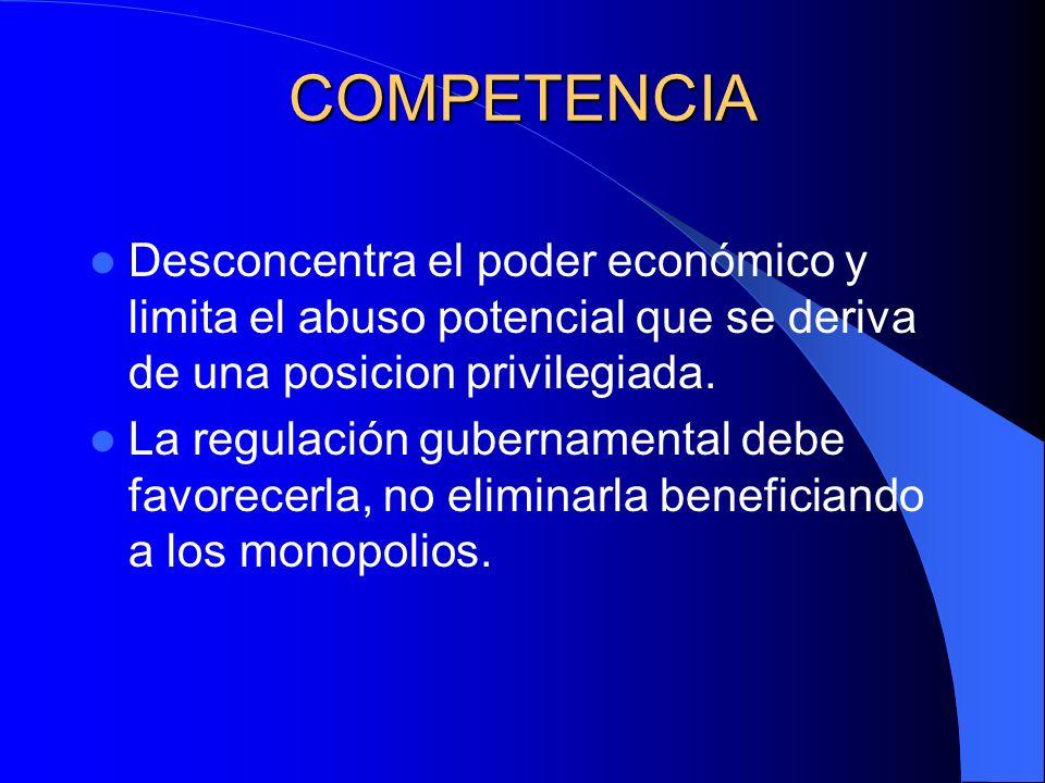 COMPETENCIA Desconcentra el poder económico y limita el abuso potencial que se deriva de una posicion privilegiada. La regulación gubernamental debe f
