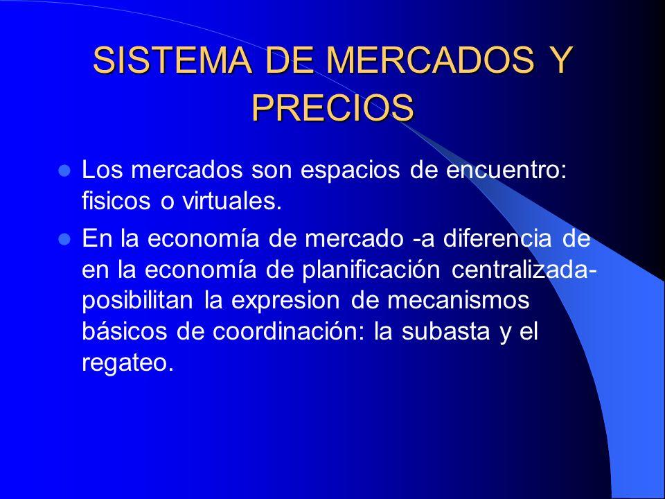 SISTEMA DE MERCADOS Y PRECIOS Los mercados son espacios de encuentro: fisicos o virtuales. En la economía de mercado -a diferencia de en la economía d