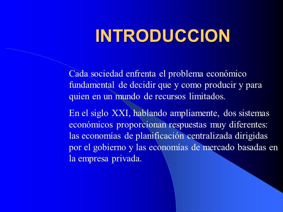 INTRODUCCION Cada sociedad enfrenta el problema económico fundamental de decidir que y como producir y para quien en un mundo de recursos limitados. E