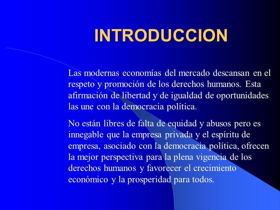 INTRODUCCION Las modernas economías del mercado descansan en el respeto y promoción de los derechos humanos. Esta afirmación de libertad y de igualdad