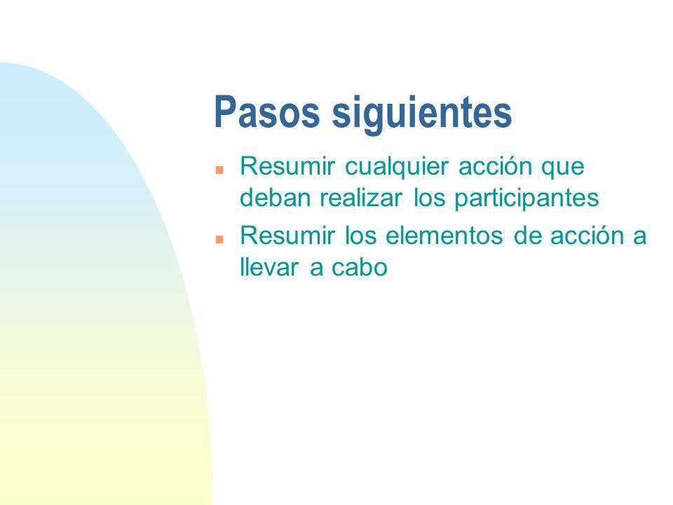 Pasos siguientes n Resumir cualquier acción que deban realizar los participantes n Resumir los elementos de acción a llevar a cabo
