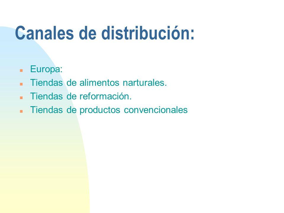 Canales de distribución: n Europa: n Tiendas de alimentos narturales. n Tiendas de reformación. n Tiendas de productos convencionales