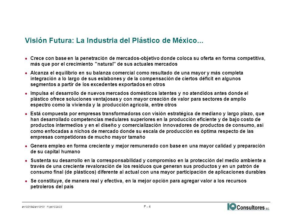 ani10/31842/ani10rf01 f1.ppt/10.24.03 F - 5 l Su crecimiento futuro proviene de dos fuentes: el crecimiento del consumo doméstico y de su participación en este mercado y la penetración en mercados de la maquiladora y de exportación l La producción de plásticos sigue la tendencia del mercado y de las exportaciones actuales u Mercado doméstico abastecido = 80% del total; crece al 6.6% anual u Exportaciones directas = 9% de la producción para mercado doméstico; crecen al 6.7% anual l Metas según facilidad de acceso a cada mercado u Doméstico actual > Sustitución de importaciones > Abasto a Maquiladora > Exportación l Recuperación del mercado doméstico a través de sustituir importaciones u Se sustituye el 35% de las importaciones de plásticos u La participación de mercado pasa de 80 al 87 por ciento u Contribuye con el 40% de la producción incremental en 2004-20013 l Abasto a la maquiladora u Se penetra el mercado de la maquiladora hasta en un 20%, principalmente en empaque u Contribuye con el 43% de la producción incremental en 2004-2013 l Promoción de nuevas exportaciones a mercados de Estados Unidos y América Central u Las exportaciones aumentan 50% respecto de la tendencia actual (14% de la producción) u Contribuyen con 17% de la producción incremental en 2004-2013 Crece con base en la penetración de mercados-objetivo donde coloca su oferta en forma competitiva, más que por el crecimiento natural de sus actuales mercados