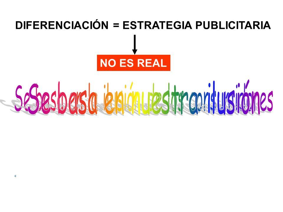 DIFERENCIACIÓN = ESTRATEGIA PUBLICITARIA NO ES REAL