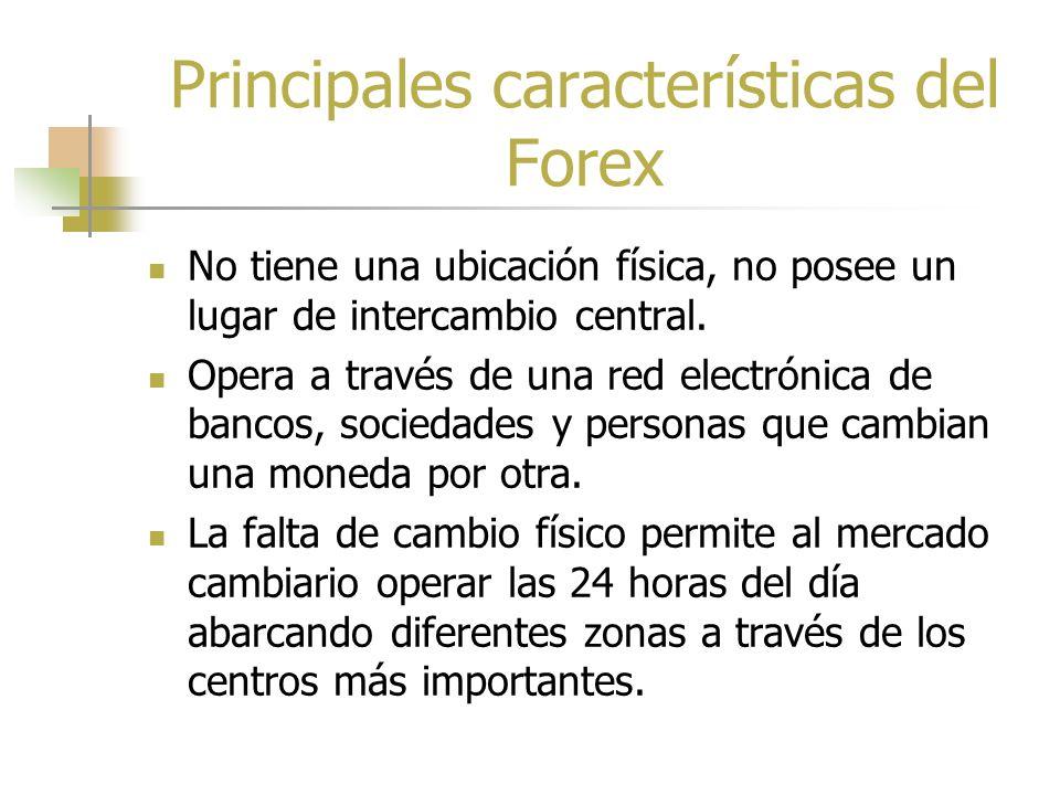 Mercado Cambiario (Forex) Sitio en el cual la moneda de una nación se cambia por la de otra Es el mercado financiero más grande del mundo, con más de