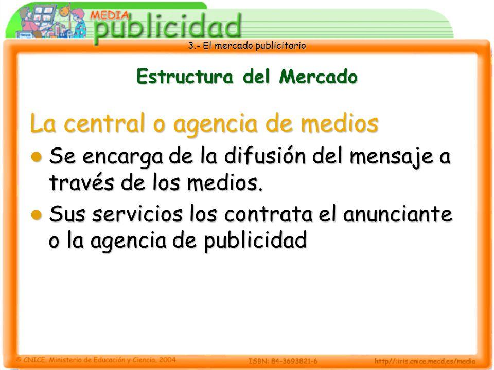 3.- El mercado publicitario Estructura del Mercado La central o agencia de medios Se encarga de la difusión del mensaje a través de los medios. Se enc