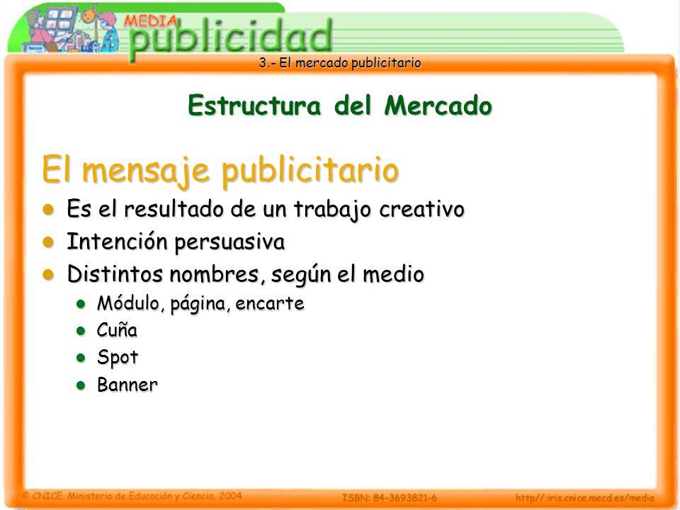 3.- El mercado publicitario Estructura del Mercado El mensaje publicitario Es el resultado de un trabajo creativo Es el resultado de un trabajo creati