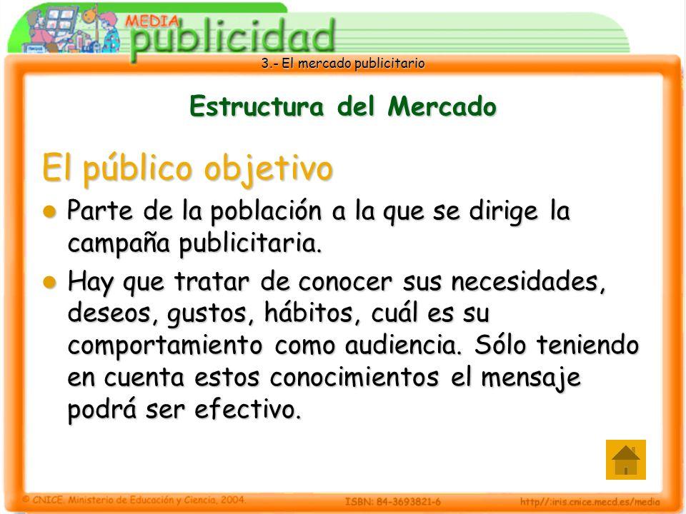 3.- El mercado publicitario Estructura del Mercado El público objetivo Parte de la población a la que se dirige la campaña publicitaria. Parte de la p