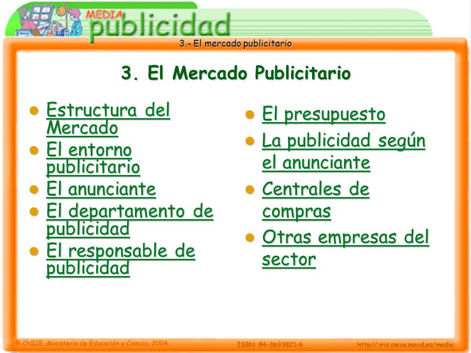 3.- El mercado publicitario 3. El Mercado Publicitario Estructura del Mercado Estructura del Mercado Estructura del Mercado Estructura del Mercado El