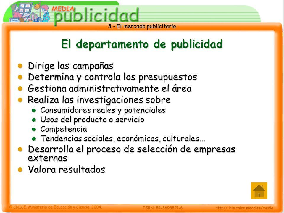 3.- El mercado publicitario El departamento de publicidad Dirige las campañas Dirige las campañas Determina y controla los presupuestos Determina y co