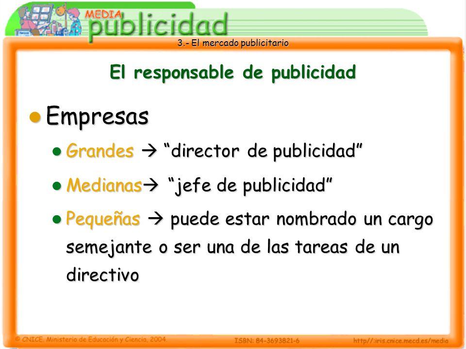 3.- El mercado publicitario El responsable de publicidad El director o jefe de publicidad se compromete a llevar a cabo las siguientes funciones: directivas de coordinación administrativas