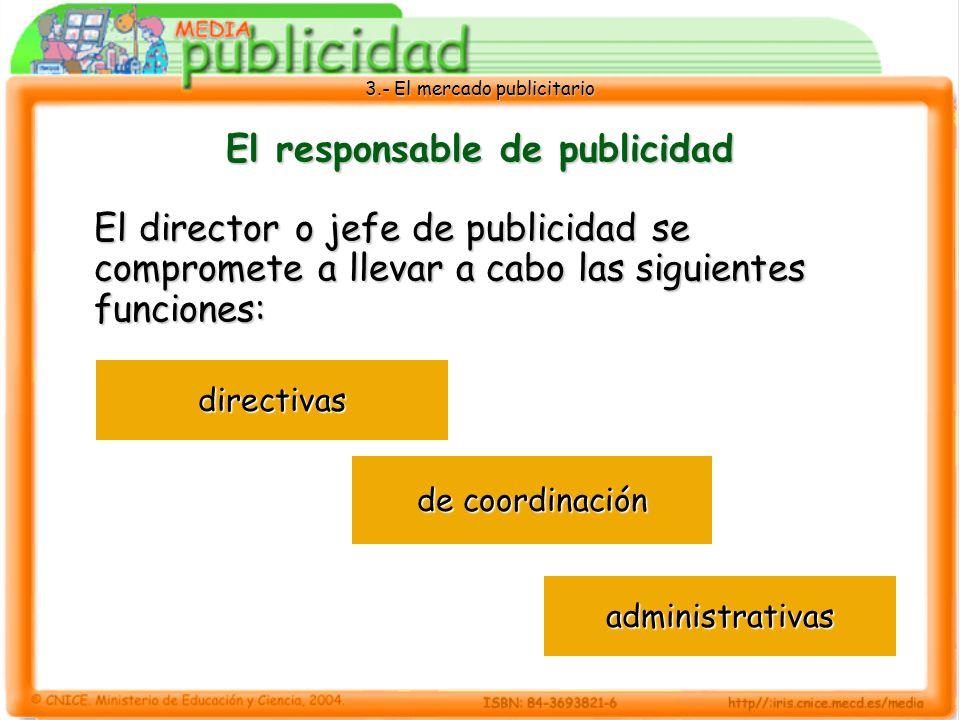 3.- El mercado publicitario El responsable de publicidad El director o jefe de publicidad se compromete a llevar a cabo las siguientes funciones: dire