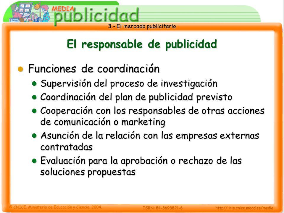3.- El mercado publicitario El responsable de publicidad Funciones de coordinación Funciones de coordinación Supervisión del proceso de investigación
