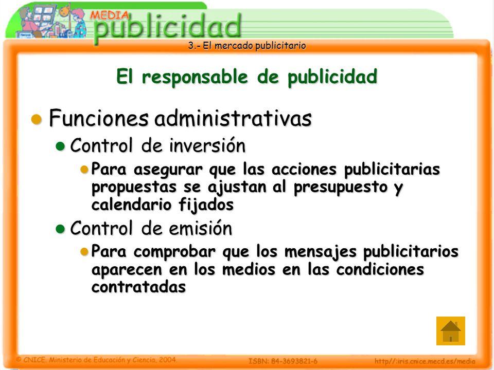 3.- El mercado publicitario El responsable de publicidad Funciones administrativas Funciones administrativas Control de inversión Control de inversión