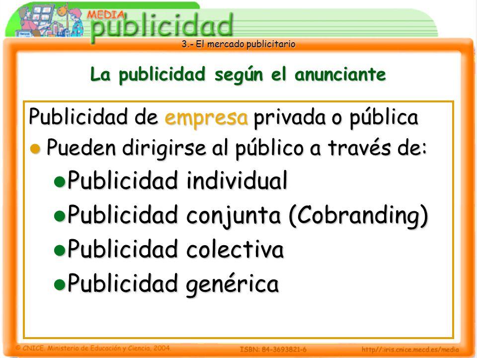 3.- El mercado publicitario La publicidad según el anunciante Publicidad de empresa privada o pública Pueden dirigirse al público a través de: Pueden