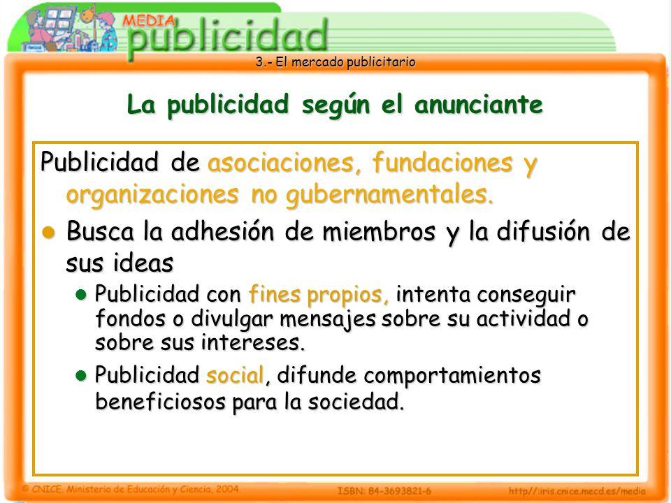 3.- El mercado publicitario La publicidad según el anunciante Publicidad de asociaciones, fundaciones y organizaciones no gubernamentales. Busca la ad