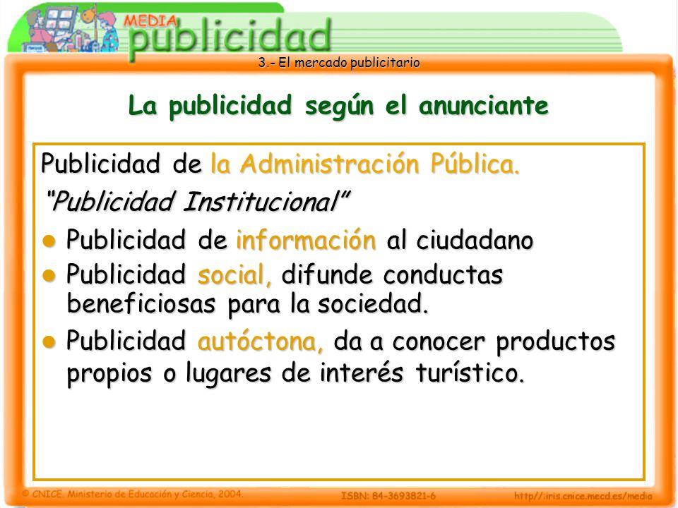 3.- El mercado publicitario La publicidad según el anunciante Publicidad de la Administración Pública. Publicidad Institucional Publicidad de informac