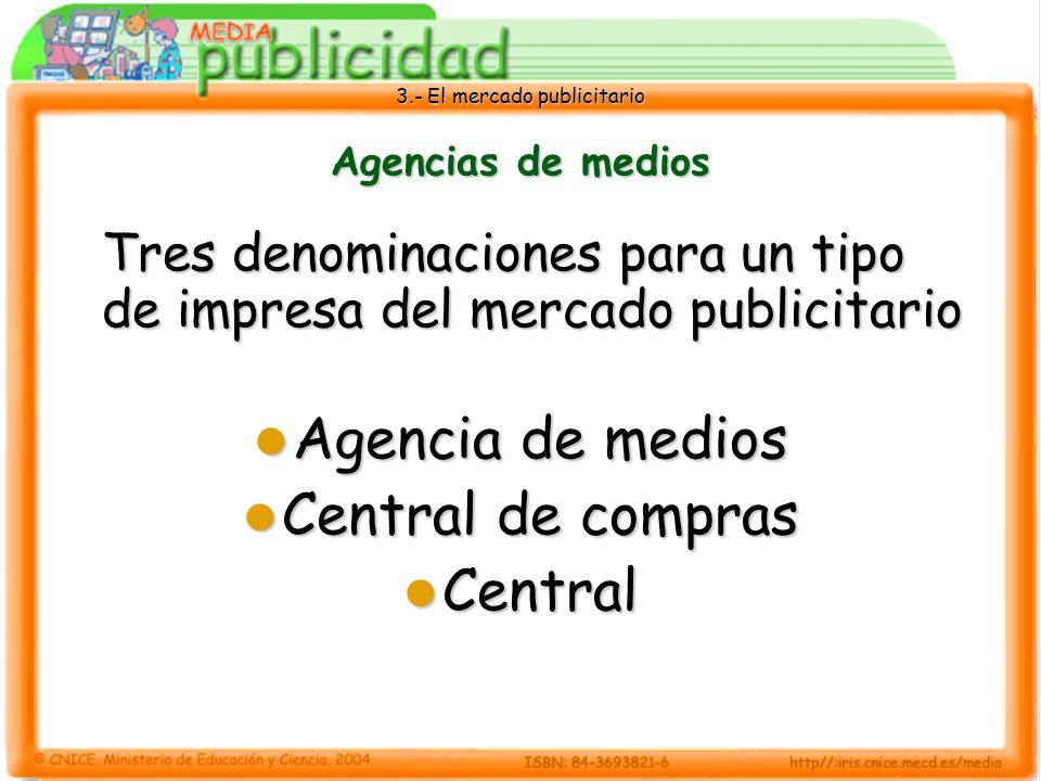 3.- El mercado publicitario Agencias de medios Un anunciante que utiliza medios de comunicación puede contratar los espacios en los que quiere insertar su anuncio: Directamente con el medio Directamente con el medio A través de su agencia de publicidad A través de su agencia de publicidad A través de una central o agencia de medios A través de una central o agencia de medios