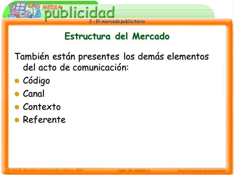 3.- El mercado publicitario Estructura del Mercado También están presentes los demás elementos del acto de comunicación: Código Código Canal Canal Con