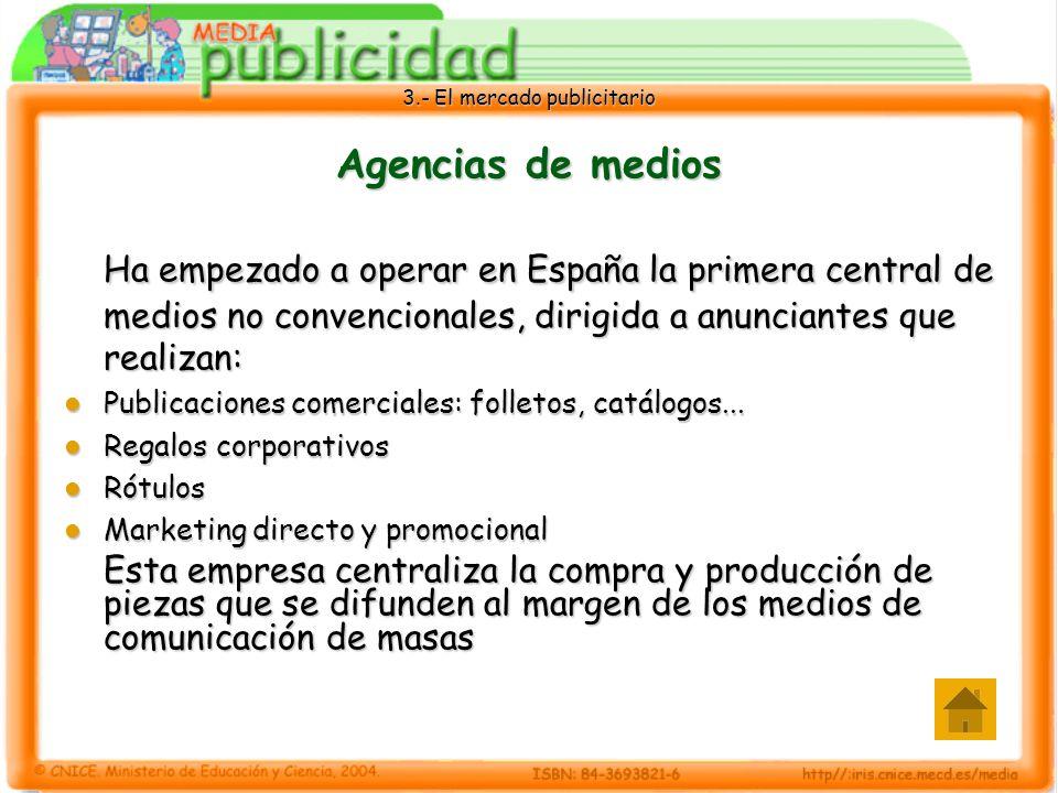 3.- El mercado publicitario Otras empresas del sector Hemos hablado de: Anunciantes Anunciantes Agencias de publicidad Agencias de publicidad Agencias de medios Agencias de medios Medios de comunicación Medios de comunicación Público Público Pero, hay más empresas importantes en el mercado publicitario