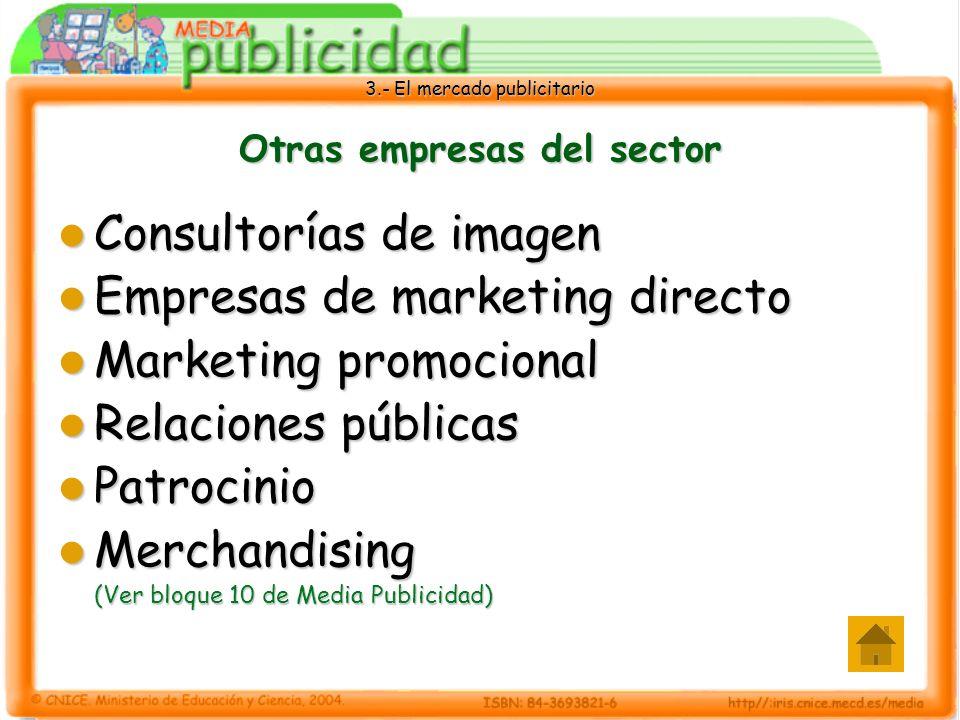 3.- El mercado publicitario Otras empresas del sector Consultorías de imagen Consultorías de imagen Empresas de marketing directo Empresas de marketin