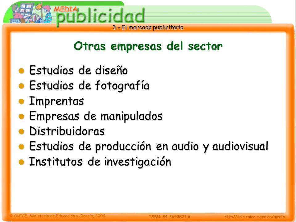 3.- El mercado publicitario Otras empresas del sector Estudios de diseño Estudios de diseño Estudios de fotografía Estudios de fotografía Imprentas Im