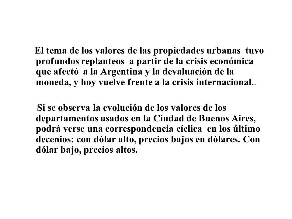 El tema de los valores de las propiedades urbanas tuvo profundos replanteos a partir de la crisis económica que afectó a la Argentina y la devaluación