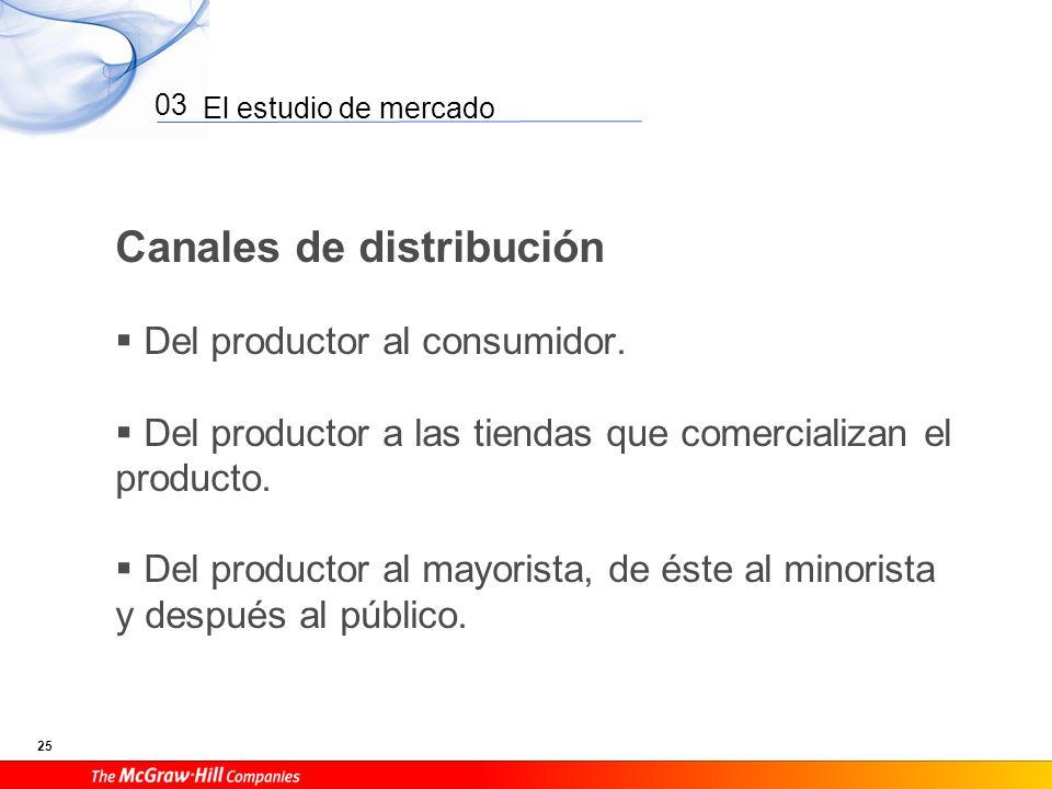 El estudio de mercado 25 03 Canales de distribución Del productor al consumidor. Del productor a las tiendas que comercializan el producto. Del produc