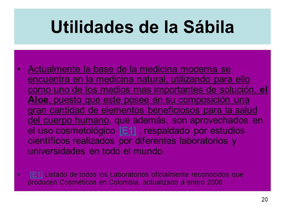 20 Utilidades de la Sábila Actualmente la base de la medicina moderna se encuentra en la medicina natural, utilizando para ello como uno de los medios