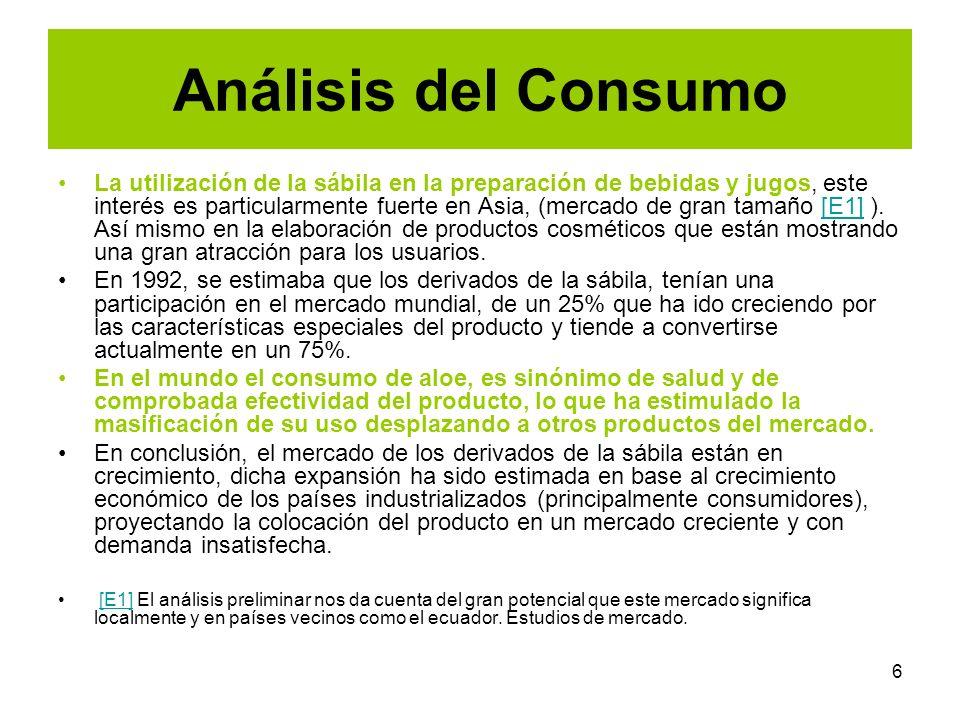 6 Análisis del Consumo La utilización de la sábila en la preparación de bebidas y jugos, este interés es particularmente fuerte en Asia, (mercado de g