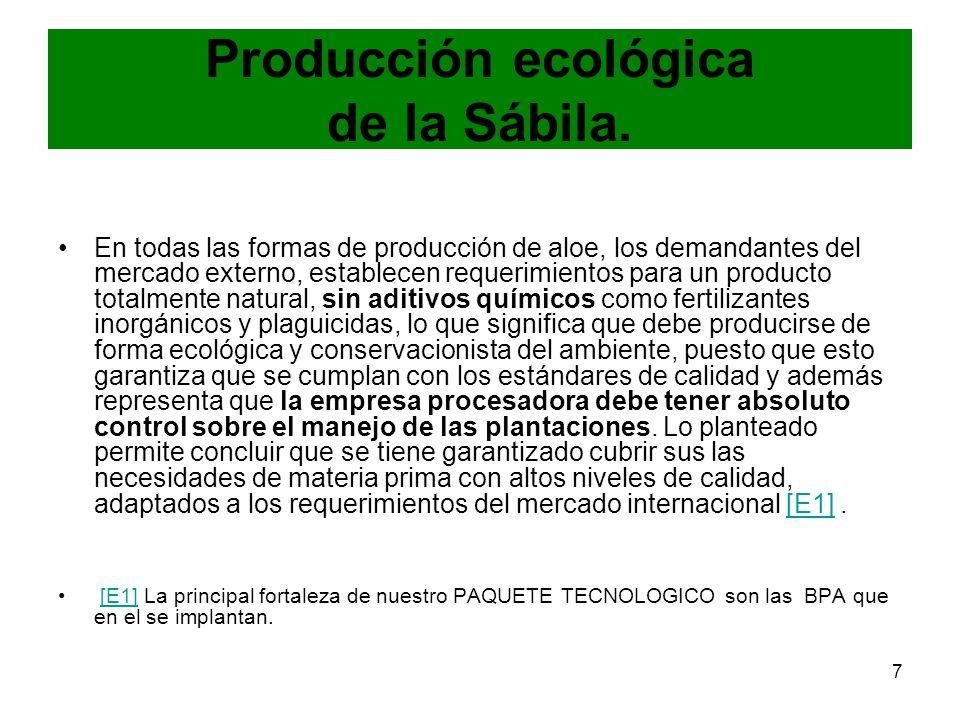 7 Producción ecológica de la Sábila. En todas las formas de producción de aloe, los demandantes del mercado externo, establecen requerimientos para un