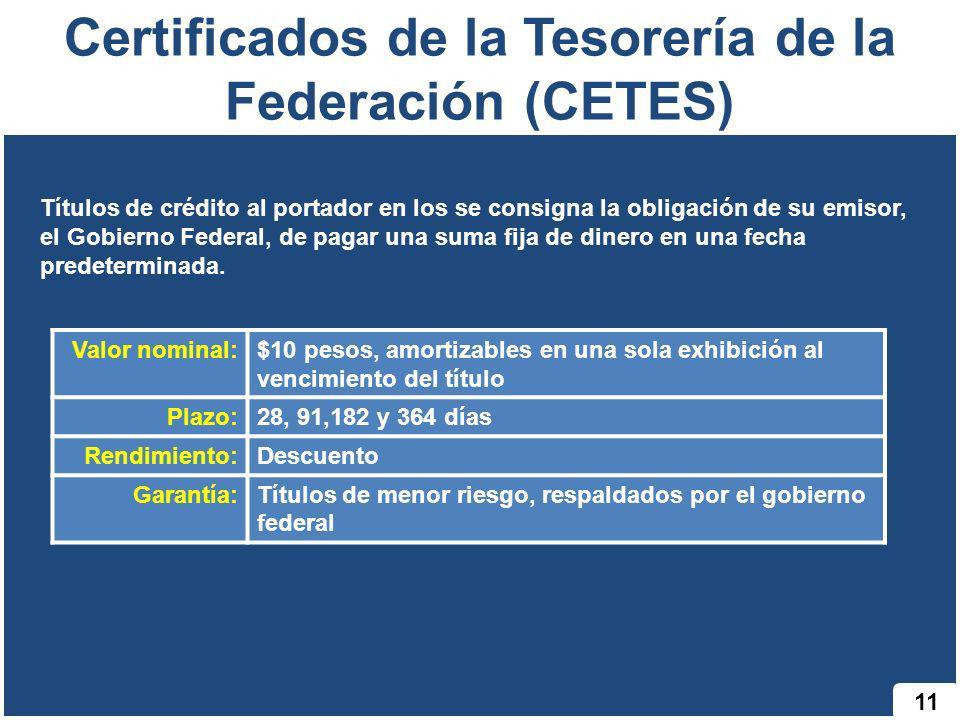 Certificados de la Tesorería de la Federación (CETES) 11 Títulos de crédito al portador en los se consigna la obligación de su emisor, el Gobierno Fed