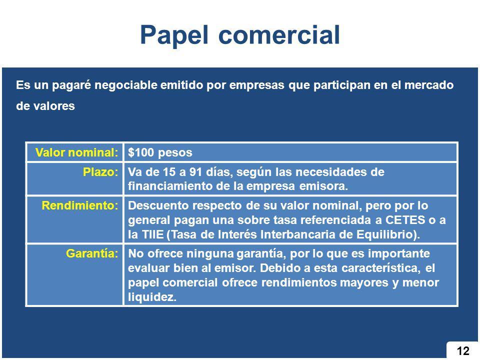 Papel comercial 12 Es un pagaré negociable emitido por empresas que participan en el mercado de valores Valor nominal:$100 pesos Plazo:Va de 15 a 91 d