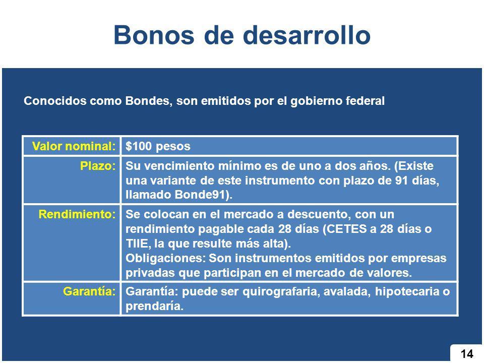 Bonos de desarrollo 14 Conocidos como Bondes, son emitidos por el gobierno federal Valor nominal:$100 pesos Plazo:Su vencimiento mínimo es de uno a do