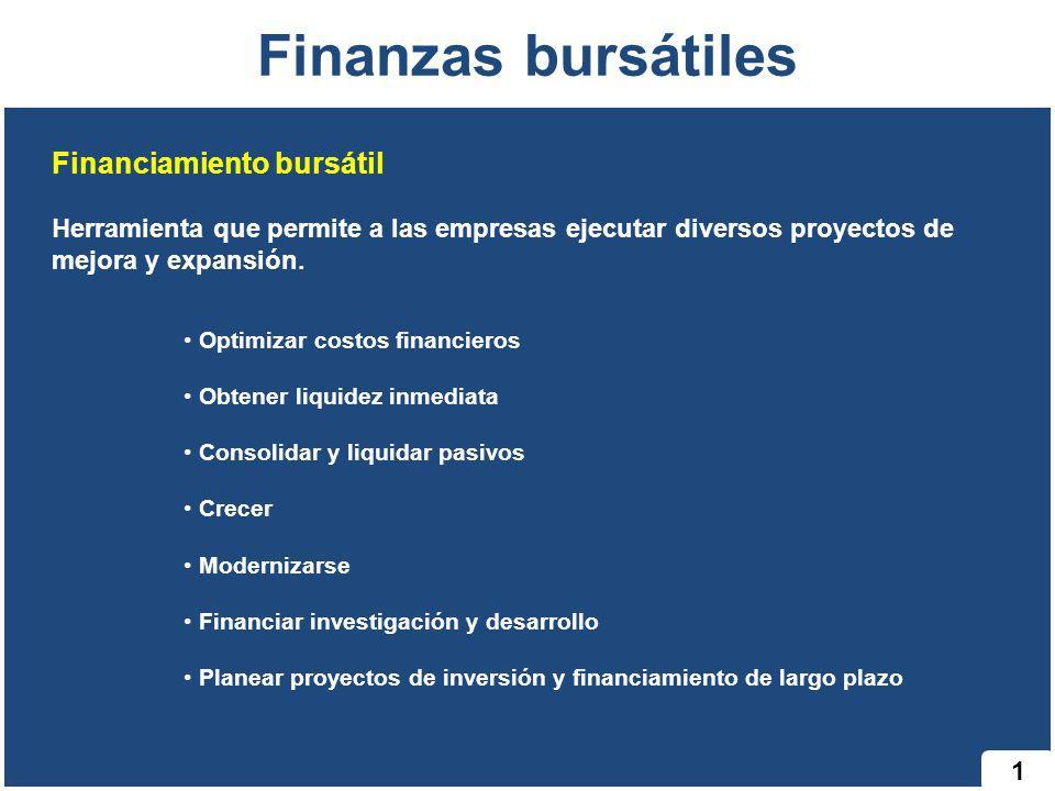 Finanzas bursátiles Financiamiento bursátil Herramienta que permite a las empresas ejecutar diversos proyectos de mejora y expansión. Optimizar costos