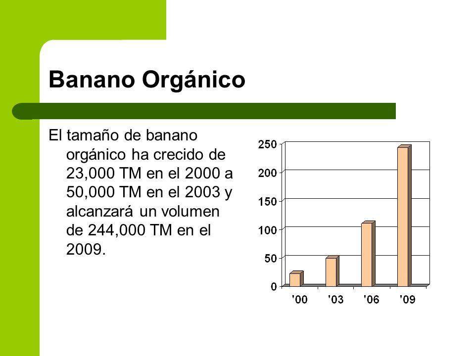 Banano Orgánico El tamaño de banano orgánico ha crecido de 23,000 TM en el 2000 a 50,000 TM en el 2003 y alcanzará un volumen de 244,000 TM en el 2009