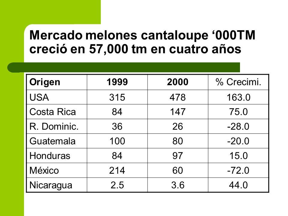 Mercado melones cantaloupe 000TM creció en 57,000 tm en cuatro años Origen19992000% Crecimi. USA315478163.0 Costa Rica8414775.0 R. Dominic.3626-28.0 G