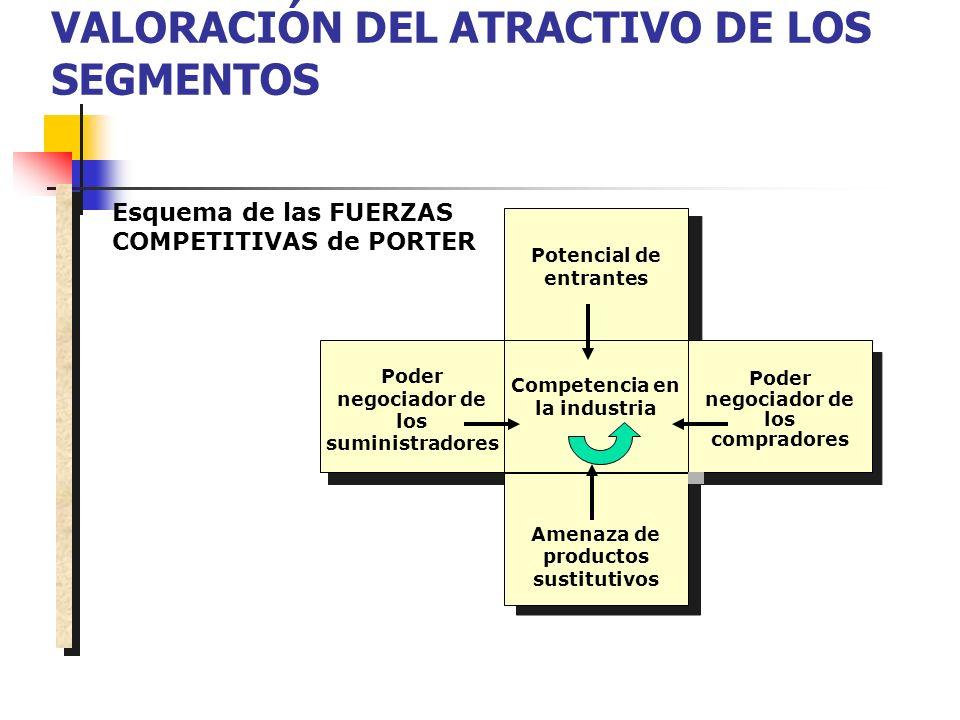 VALORACIÓN DEL ATRACTIVO DE LOS SEGMENTOS Poder negociador de los suministradores Potencial de entrantes Competencia en la industria Poder negociador