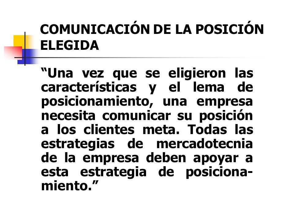 COMUNICACIÓN DE LA POSICIÓN ELEGIDA Una vez que se eligieron las características y el lema de posicionamiento, una empresa necesita comunicar su posic