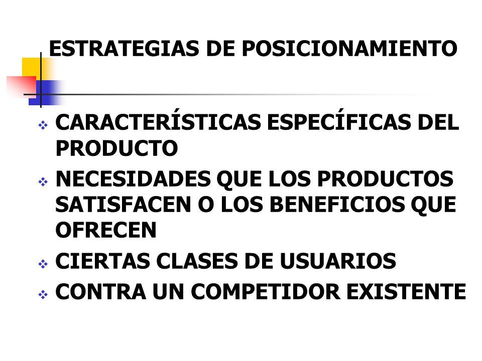 ESTRATEGIAS DE POSICIONAMIENTO CARACTERÍSTICAS ESPECÍFICAS DEL PRODUCTO NECESIDADES QUE LOS PRODUCTOS SATISFACEN O LOS BENEFICIOS QUE OFRECEN CIERTAS