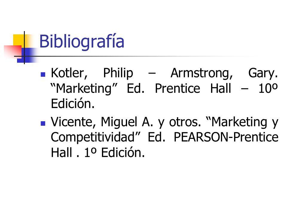 Bibliografía Kotler, Philip – Armstrong, Gary. Marketing Ed. Prentice Hall – 10º Edición. Vicente, Miguel A. y otros. Marketing y Competitividad Ed. P