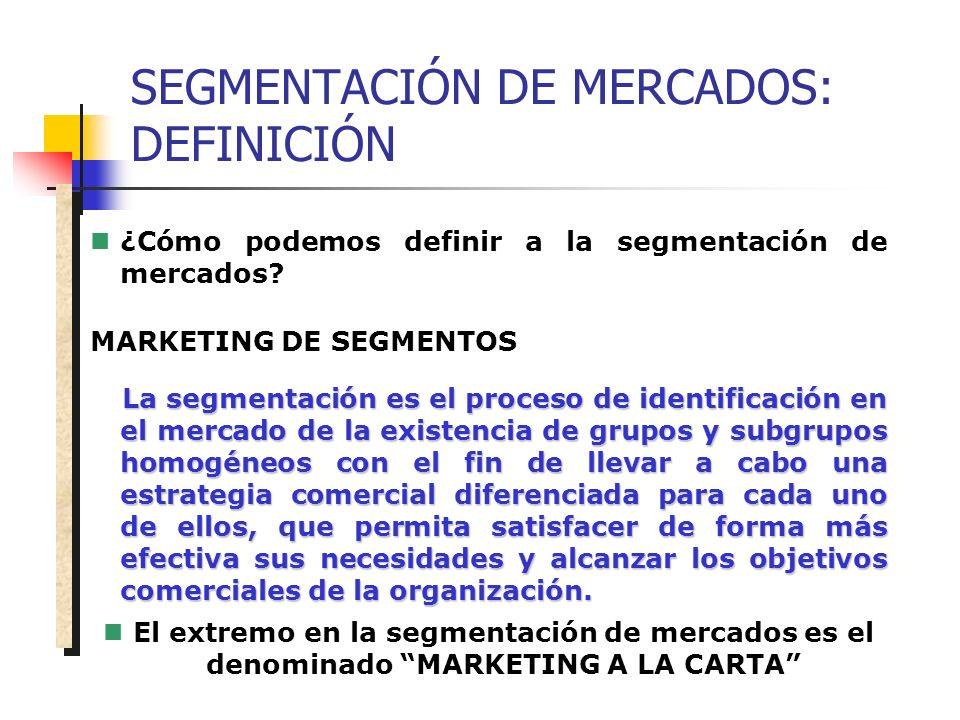 SEGMENTACIÓN DE MERCADOS: DEFINICIÓN ¿Cómo podemos definir a la segmentación de mercados? MARKETING DE SEGMENTOS La segmentación es el proceso de iden