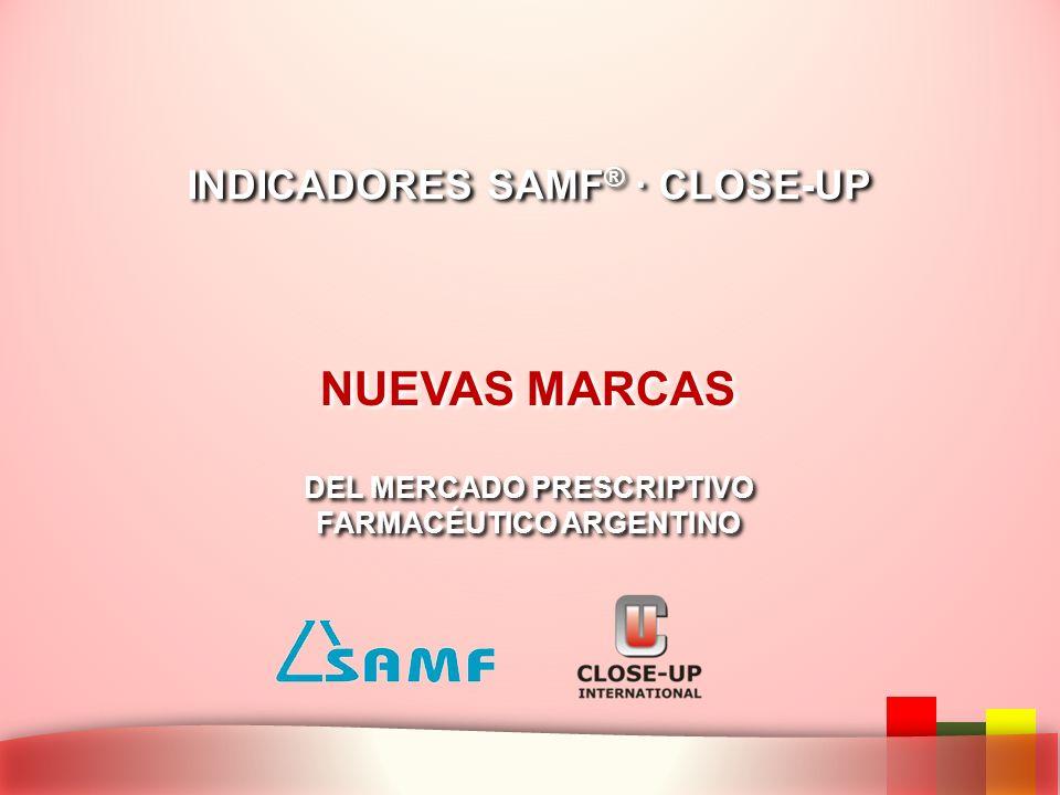 NUEVAS MARCAS INDICADORES SAMF ® · CLOSE-UP DEL MERCADO PRESCRIPTIVO FARMACÉUTICO ARGENTINO DEL MERCADO PRESCRIPTIVO FARMACÉUTICO ARGENTINO