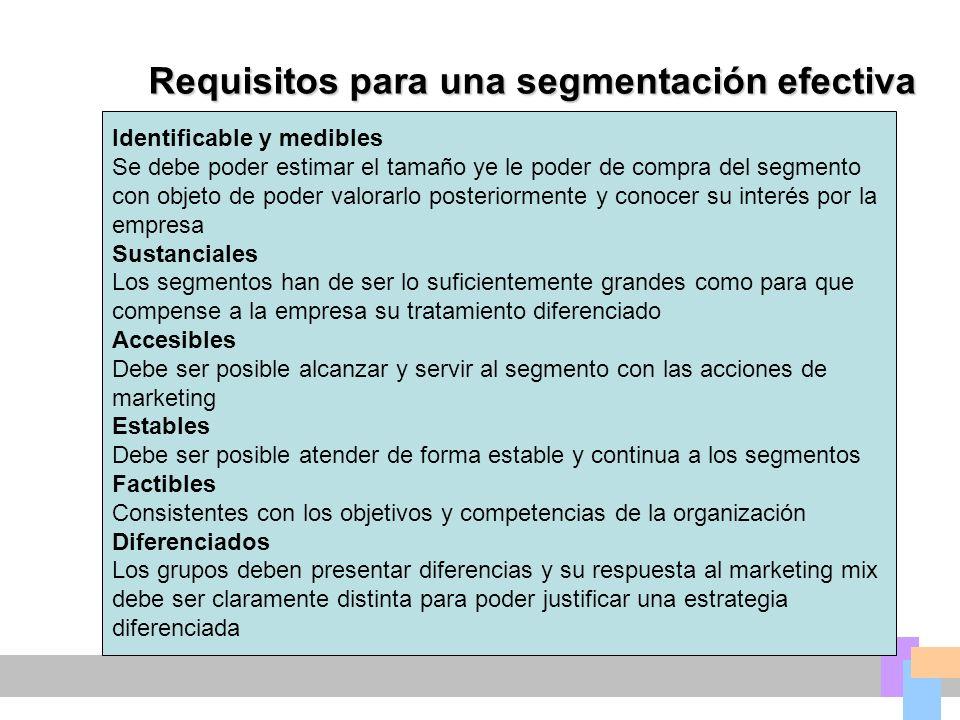 Requisitos para una segmentación efectiva Identificable y medibles Se debe poder estimar el tamaño ye le poder de compra del segmento con objeto de po