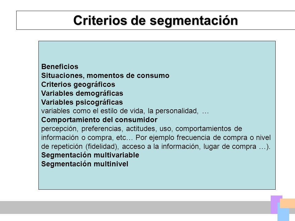 Criterios de segmentación Beneficios Situaciones, momentos de consumo Criterios geográficos Variables demográficas Variables psicográficas variables como el estilo de vida, la personalidad, … Comportamiento del consumidor percepción, preferencias, actitudes, uso, comportamientos de información o compra, etc… Por ejemplo frecuencia de compra o nivel de repetición (fidelidad), acceso a la información, lugar de compra …).