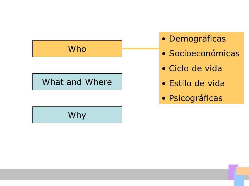 Who What and Where Why Demográficas Socioeconómicas Ciclo de vida Estilo de vida Psicográficas