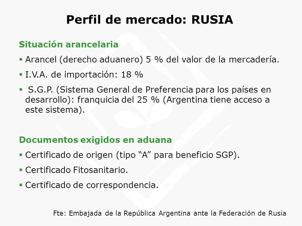 Perfil de mercado: RUSIA Situación arancelaria Arancel (derecho aduanero) 5 % del valor de la mercadería. I.V.A. de importación: 18 % S.G.P. (Sistema