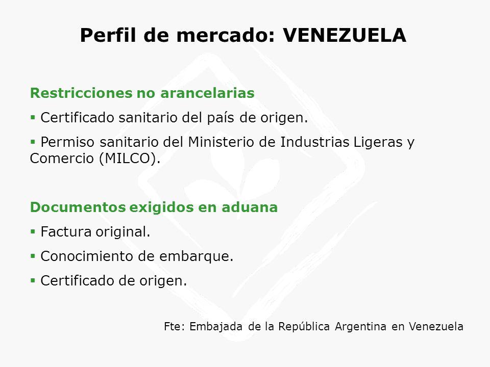 Perfil de mercado: VENEZUELA Restricciones no arancelarias Certificado sanitario del país de origen. Permiso sanitario del Ministerio de Industrias Li