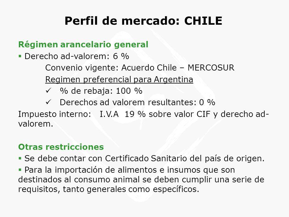 Perfil de mercado: CHILE Régimen arancelario general Derecho ad-valorem: 6 % Convenio vigente: Acuerdo Chile – MERCOSUR Regimen preferencial para Arge